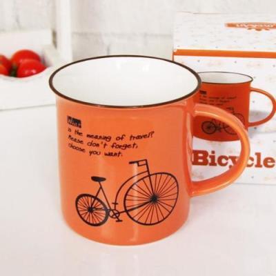 빈티지 오렌지 자전거머그 1개