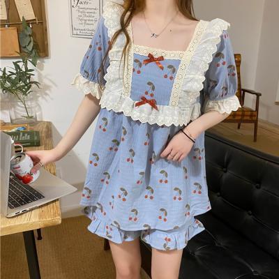 여성 홈웨어 잠옷 세트 파자마 체리 포인트 프릴