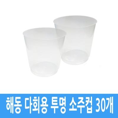 해동 플라스틱 다회용 캠핑 여행 소주 잔 컵 30개