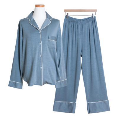 [쿠비카]텐셀 긴소매카라형 투피스 여성잠옷 W415