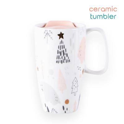 숲속곰 세라믹 텀블러 머그컵 잔 컵