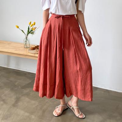 Linen Pleated Wide Pants - 치마바지