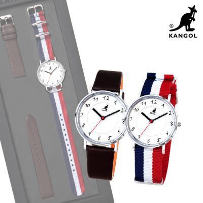 [KANGOL] 캉골시계 KG11055 SLIM 나토밴드시계 + 가죽밴드 시계세트