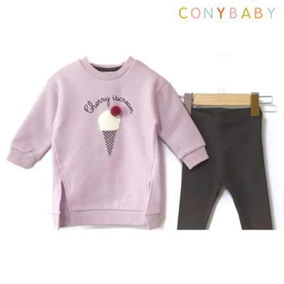 [CONY]아이스크림퍼플기모맨투맨 상하복세트