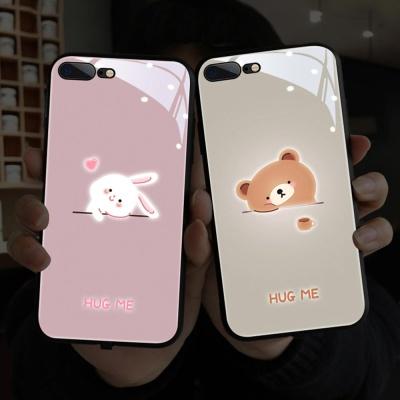 아이폰SE2 11 PRO MAX/곰 토끼 야광 강화유리 케이스