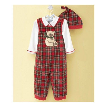 Baby Holiday Plaid Overall Set 820110(6-9개월