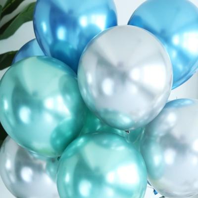 천장장식 크롬풍선(헬륨효과)세트-블루토파즈