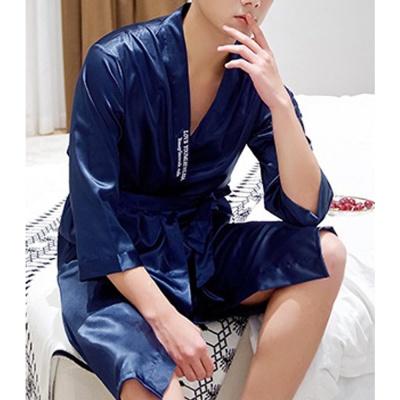 실키나잇 남성 잠옷가운 (네이비) (XL)