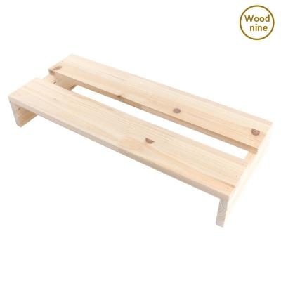 우드나인 원목 삼나무 모니터받침대 1단 슬림형