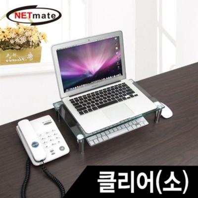 NM 모니터받침대 강화유리 모니터거치대 (소) 클리어