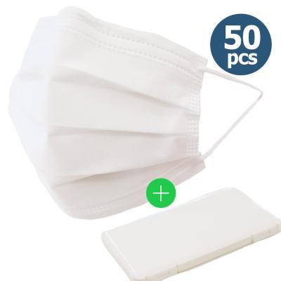 일회용 마스크 3겹 화이트 50매 성인용+케이스 증정