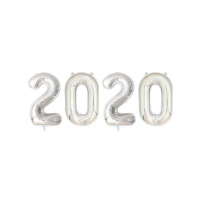 숫자 2020 은박풍선(소) 실버 생일장식용품 파티용품