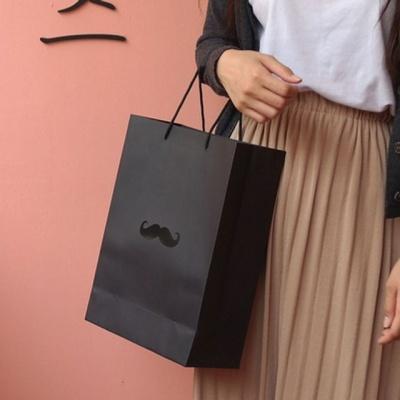 심플 디자인 선물 포장 블랙 쇼핑백 세로