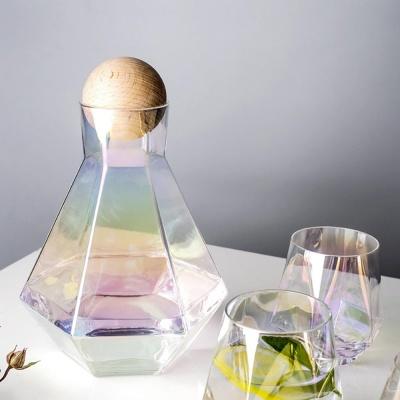 노르딕 육각 글라스 물병 물컵 디켄터 세트 4color