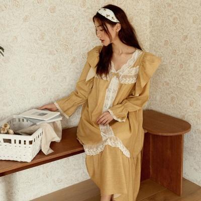 [쿠비카]숄더 윙 장식 셔링 원피스 여성잠옷 W839