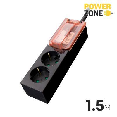 [파워존] 과부하차단 고용량멀티탭 2구 1.5M 블랙