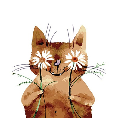 DIY 명화그리기키트 - 꽃을 든 고양이 40x50cm
