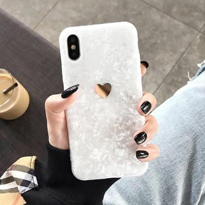 아이폰XR XS X 8플러스 슬림핏 하트 자개 젤리 케이스