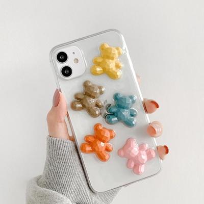 아이폰11 PRO SE2 8 7 입체 데코 곰돌이 투명 케이스