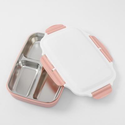 쿠킹박스 스텐 4구 식판도시락 사각 이중식판(핑크)