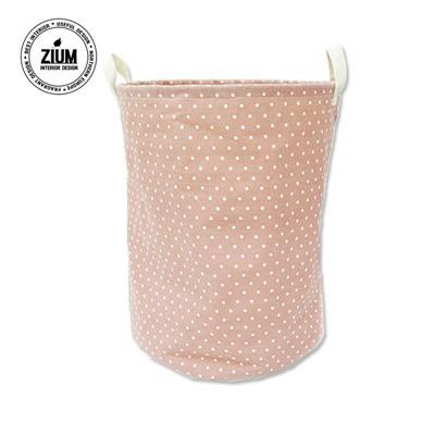 [무료배송] 북유럽풍 빨래바구니 땡땡이 핑크