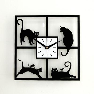 고양이 저소음 벽시계(C101) 벽 시계 추카추카넷