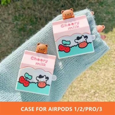 에어팟 프로/2/1 귀여운 곰돌이 체리밀크 젤리 케이스
