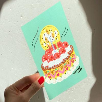 빈티지 케이크 민트 엽서