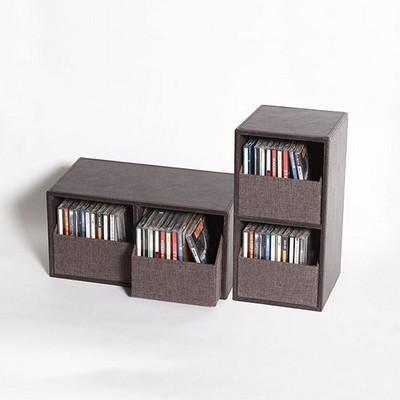 린넨 2칸서랍의 양방향 가능 CD 다용도 수납 보관함