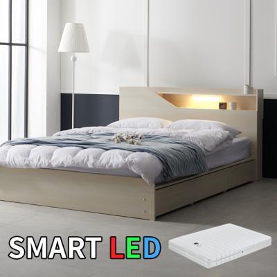 스마트 LED 서랍 침대 퀸(독립스프링매트) KC175Q
