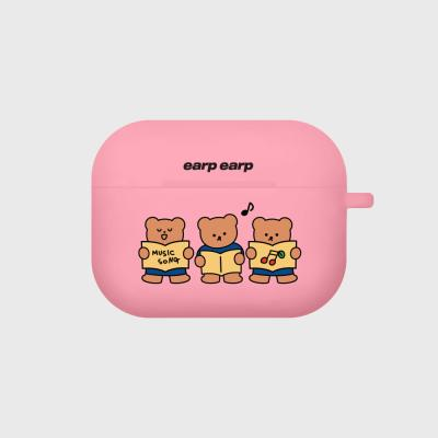 Music song bear-pink(Air pods pro case)