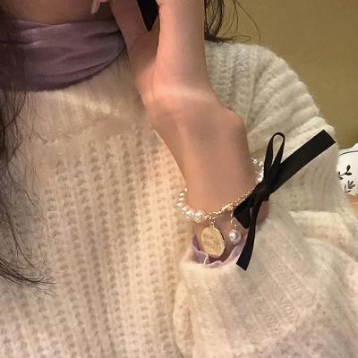 여성 패션 팔찌 발찌 체인 데일리 칼라리본 진주 동전