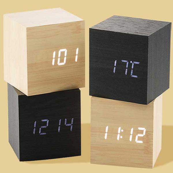 Interior LED wood 큐브 탁상 알람시계 아답터포함