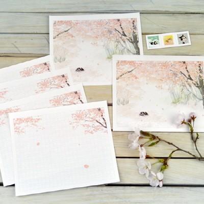길냥이 키츠 편지지 세트 - 벚꽃 지는 오후