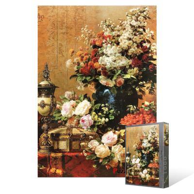 1000피스 직소퍼즐 - 꽃이 만발한 화병과 하얀 꽃송이