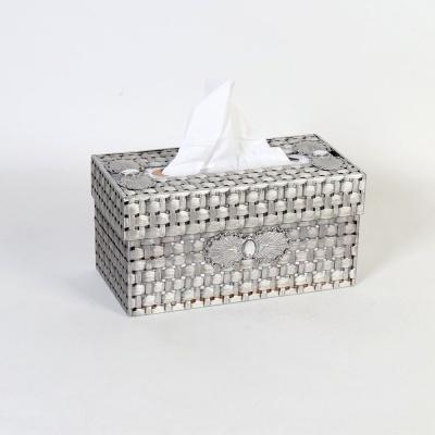 엔틱메탈 라탄패턴 사각 티슈케이스-2색상