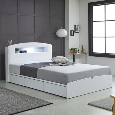 리트로 통서랍 LED 메모리 Q 침대(매트리스포함)