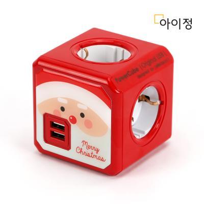 파워큐브 4구 USB 멀티탭 레드산타 X-MAS 에디션
