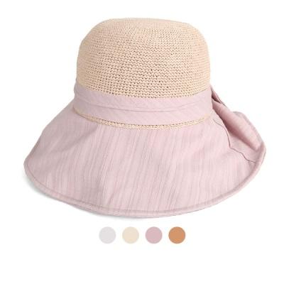 [디꾸보]바이저 배색 백리본 장식 프로피 모자 JAN351