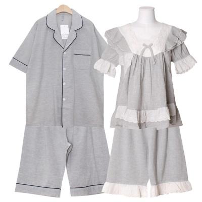[쿠비카]넥 자수 레이스 거즈 투피스 커플잠옷 WM350