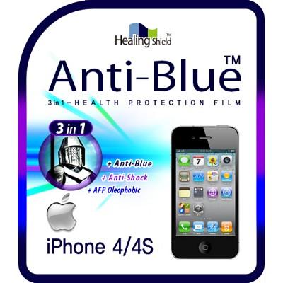 [힐링쉴드] 아이폰4S/4 3in1 블루라이트차단 충격흡수필름 2매+후면보호필름 1매(HS140301)