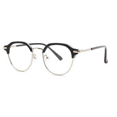 shine 블랙 실버 각진 반뿔테 안경 뿔테 패션안경