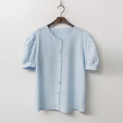 Linen Button Puff Blouse