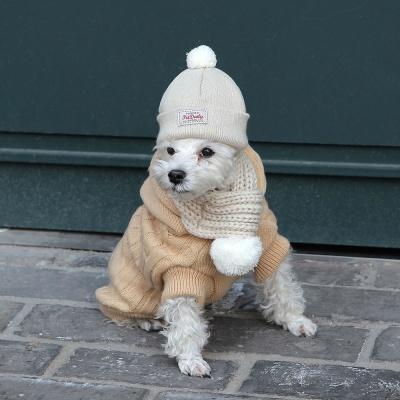 따뜻한 강아지 고양이 방울 털모자 목도리 세트