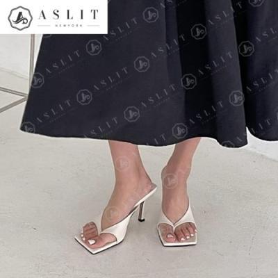 [애슬릿]스퀘어 여성 엄지 쪼리 뮬 힐 슬리퍼 9cm