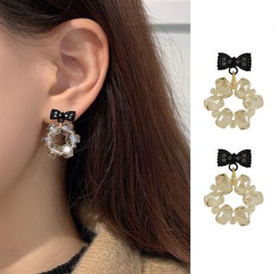 링주 큐빅 리본 레이어드 여성 귀걸이 925 silver