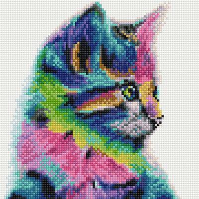 레인보우 고양이 (캔버스형) 보석십자수 25x25