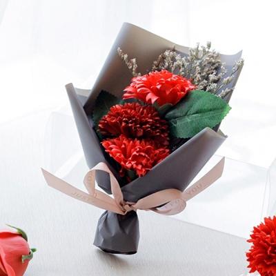조화 3P 카네이션 비누꽃 심플 미니 꽃다발