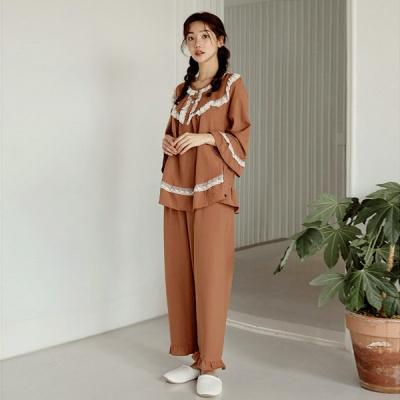 [쿠비카]레이스 라운드넥 투피스 여성잠옷 W801