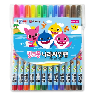 핑크퐁 상어가족 나라싸인펜 12색C7750